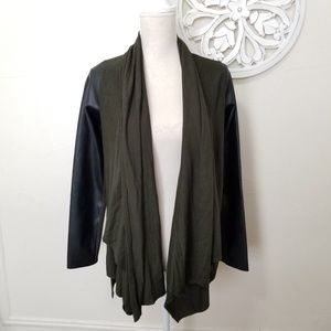 Zara knit size XS open cardigan with faux leather